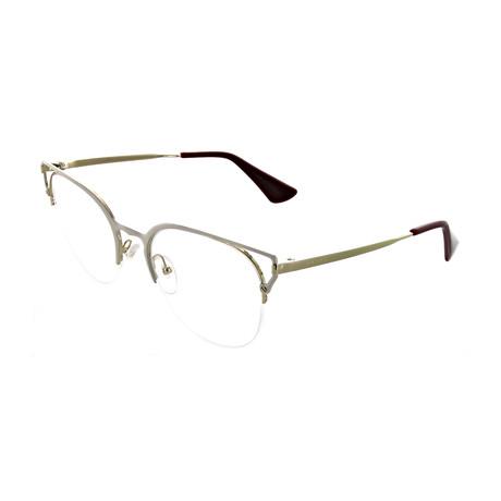 Prada // Women's Rectangular Optical Frames // Ivory + Pale Gold