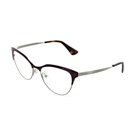Prada // Women's Cat Eye Optical Frames // Burgundy + Silver