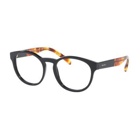 Prada // Women's Square Optical Frames // Black + Amber