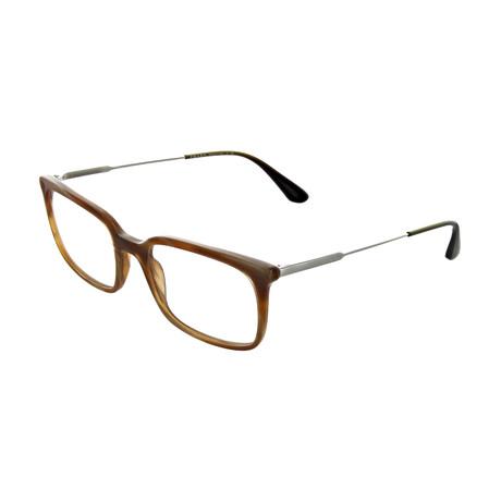Prada // Men's Rectangular Optical Frames // Light Horn
