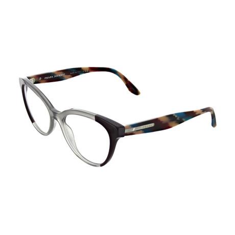 Prada // Women's Square Optical Frames // Gray + Plum