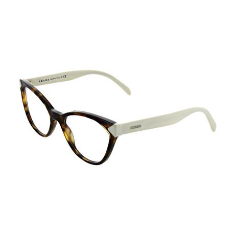 Prada // Women's Square Optical Frames // Havana + Cream