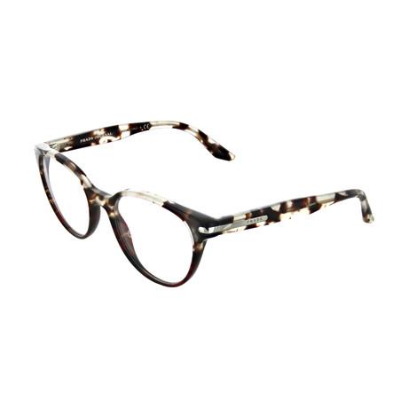 Prada // Men's Spotted Square Optical Frames // Brown + Clear + Cream