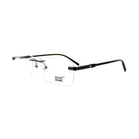 Montblanc // Men's Rectangular Optical Frames // Gunmetal + Black