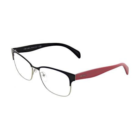 Prada // Women's Rectangular Optical Frames // Black + Pink