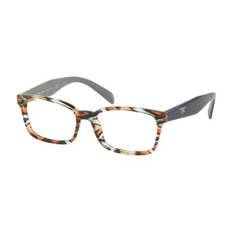 Prada // Women's Rectangular Optical Frames // Amber + Dark Blue