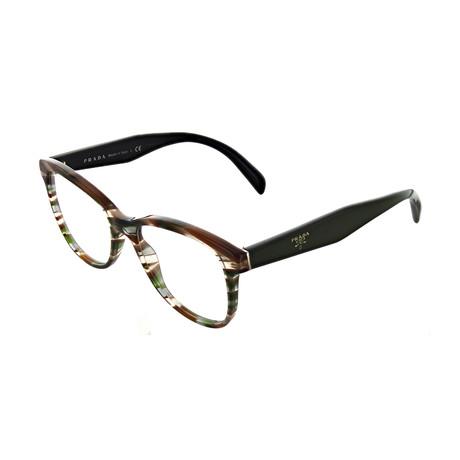 Prada // Women's Square Optical Frames // Brown + Green