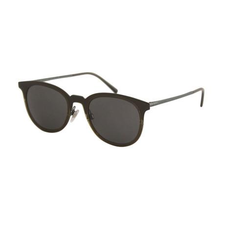 Burberry // Men's Round Sunglasses // Green Silver + Gray