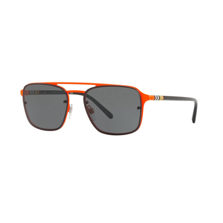 Burberry // Men's Aviator Sunglasses // Black Orange + Gray