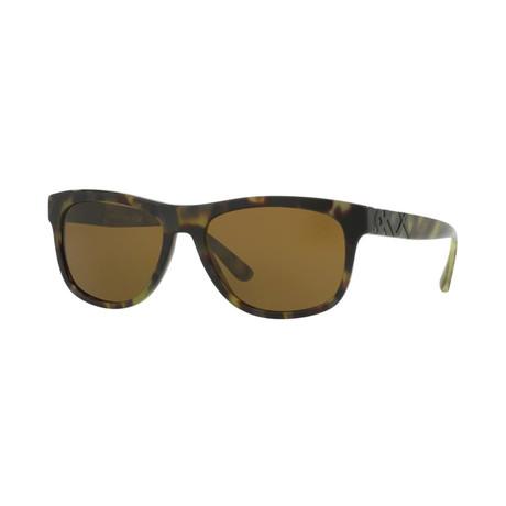Burberry // Men's Rectangular Sunglasses // Green Havana + Brown