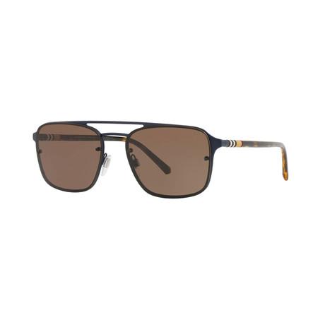 Burberry // Men's Aviator Sunglasses // Matte Blue + Brown