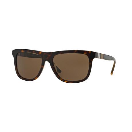 Burberry // Unisex Rectangular Sunglasses // Tortoise + Brown