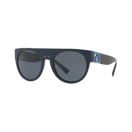 Versace // Men's Round Sunglasses // Blue + Gray