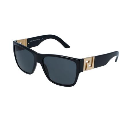 Versace // Men's Rectangular Sunglasses // Black + Gray