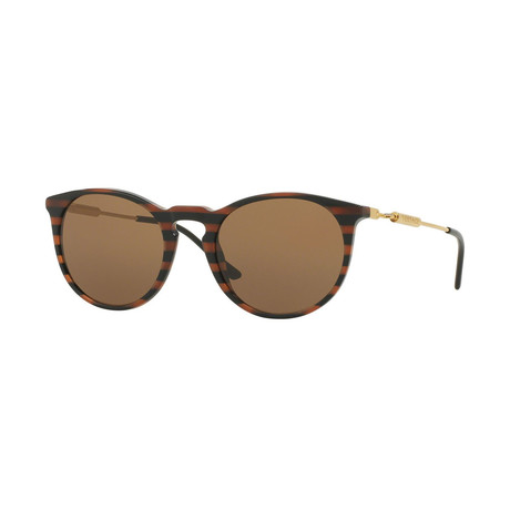 Versace // Men's Round Sunglasses // Brown Striped + Brown