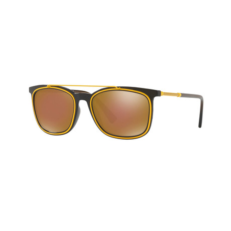 Versace // Men's Aviator Sunglasses // Matte Green + Brown Mirror
