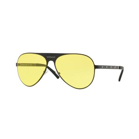 Versace // Unisex Navigator Sunglasses // Matte Black + Yellow