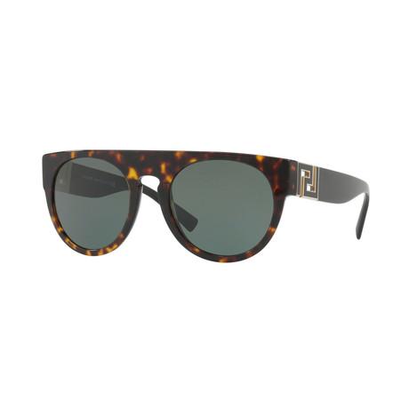 Versace // Men's Round Sunglasses // Havana + Gray