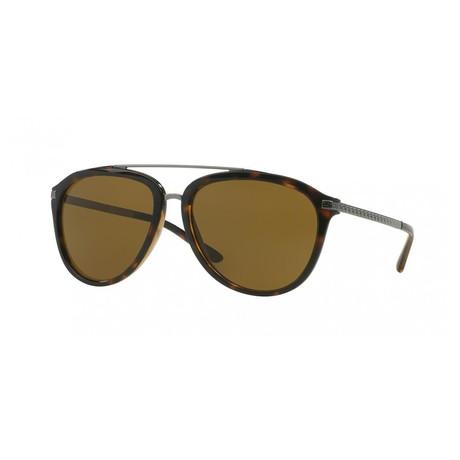 Versace // Men's Aviator Sunglasses // Brown Silver + Havana