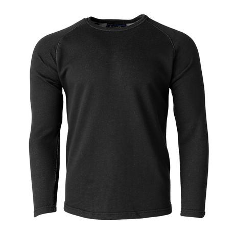 Long-Sleeve Knit Raglan Top // Black (S)