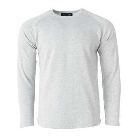 Long-Sleeve Knit Raglan Top // Light Gray (S)