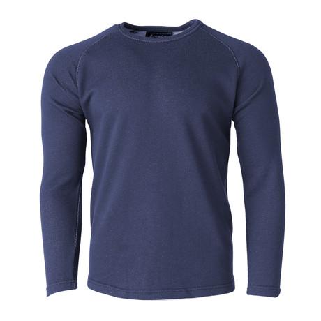 Long-Sleeve Knit Raglan Top // Navy (S)