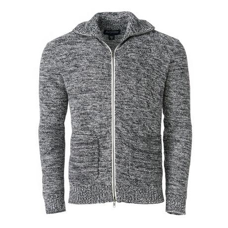 Speckle Zip-Up Sweater // Black (S)