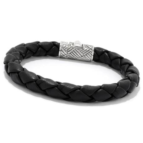 "Leather Bracelet + Textured Closure // Silver + Black (6.5"" // 11g)"