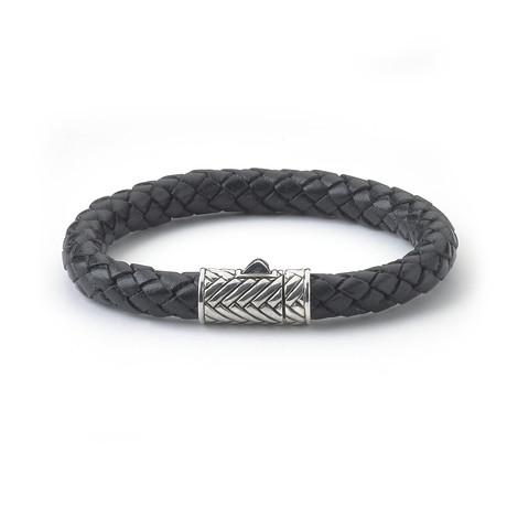 """Black Leather Bracelet // Textured Clasp (7.5""""L)"""