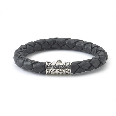 """Black Leather Bracelet // Puzzle Closure (7.5""""L)"""