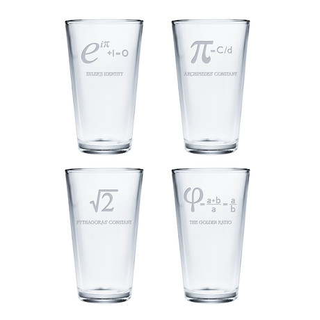 Pint Glasses // Set of 4 // Numbers + Constants