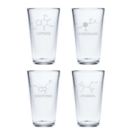 Pint Glasses // Set of 4 // Chemical Compounds
