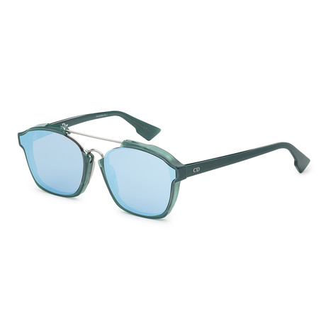 Unisex Abstract Sunglasses // Green Opal + Violet Blue