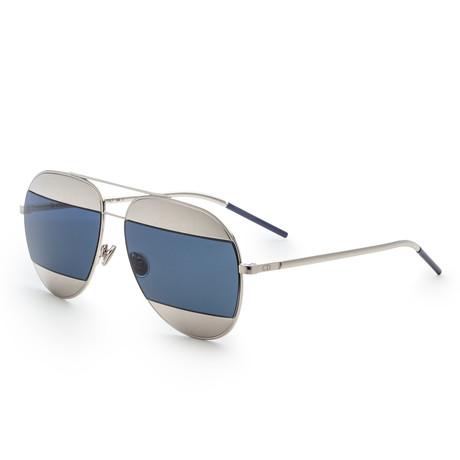 Unisex Split Aviator Sunglasses // Silver + Blue