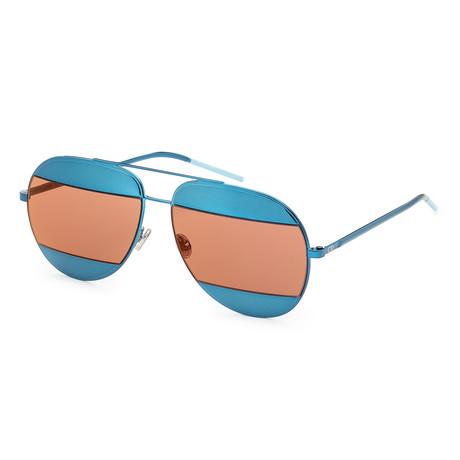 Unisex Split Sunglasses // Blue + Rose