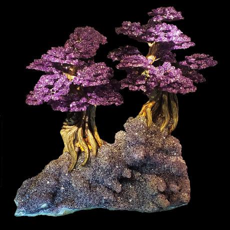Tree of Serenity - Amethyst Petals on an Amethyst Matrix // Two Trees on Amethyst Matrix