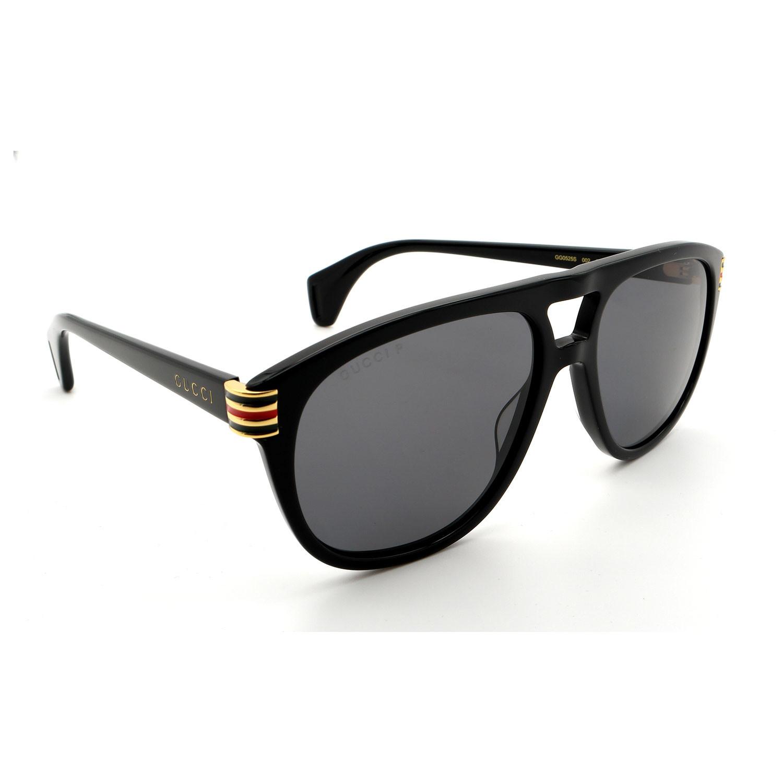 Unisex GG0525S Double Bridge Aviator Sunglasses // Black
