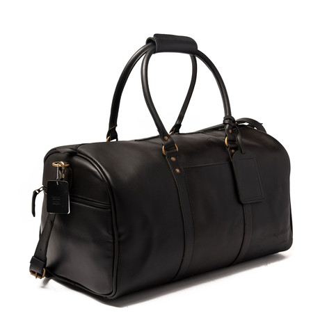 "Leather Travel Duffel Bag 21"" // Black"
