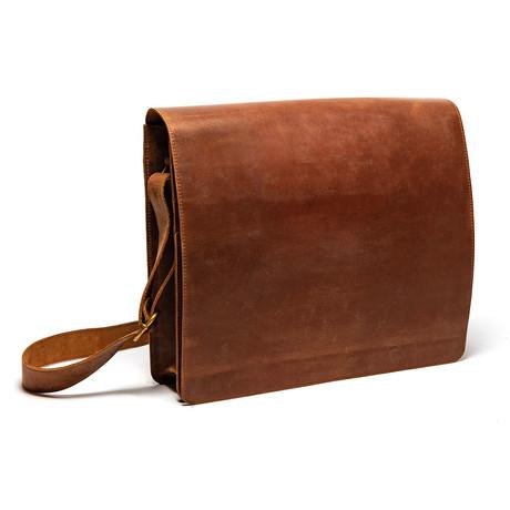 SubUrban Leather Laptop Messenger Bag 14″ // Distressed Brown