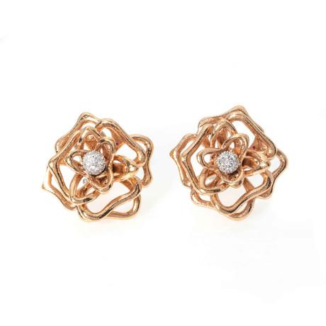 Roberto Coin 18k Two-Tone Gold Diamond Flower Earrings