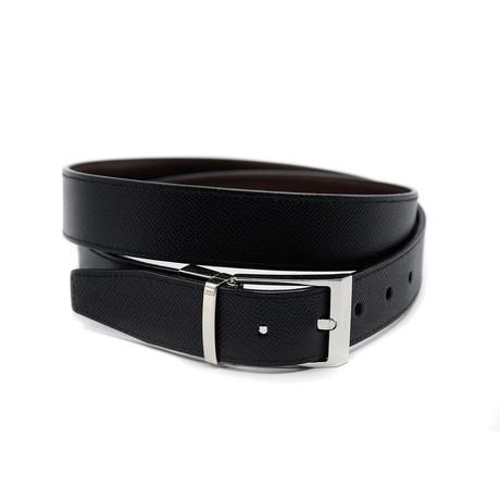 Men's Shiff Calf Leather Adjustable + Reversible Dress Belt // Black