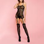 Glitter // Paris Sleeveless Floral Bodystocking // Black
