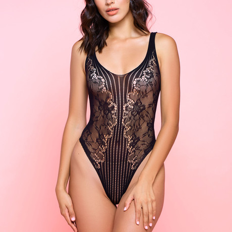 Sleeveless Hosiery Striped + Lace Teddy // Black