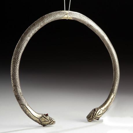 Roman Gilt Silver & Garnet Torc Snakes, ex Christie's