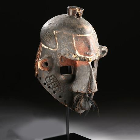20th C. African Binji Wood Helmet Mask - Tshibangabanga