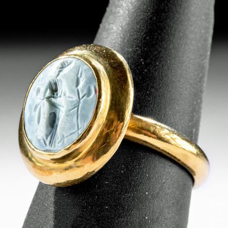 22K Gold Ring w/ Roman Nicolo Intaglio of Fortuna