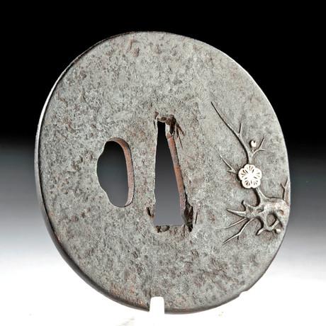 19th C Japan Edo Iron & Silvered Tsuba - Cherry Blossom