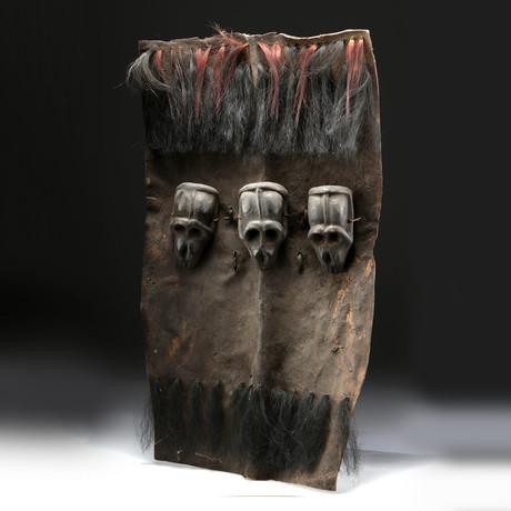 19th C. Naga Headhunter's Shield w/ Wooden Monkey Skull