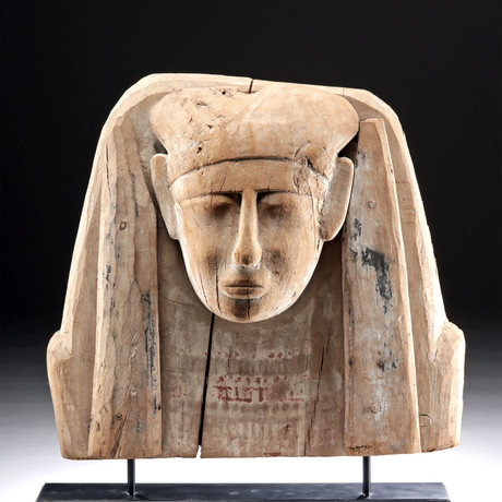 Egyptian Wood / Painted Gesso Sarcophagus Head Panel