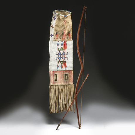 19th C. Native American Plains Bow, Arrow, & Pipe Bag